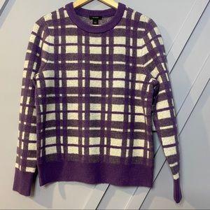 Halogen fuzzy purple plaid sweater